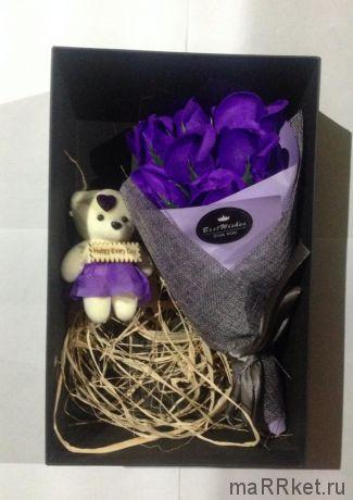 Набор из 7 мыльных роз в коробке с мишкой (фиолетовый)