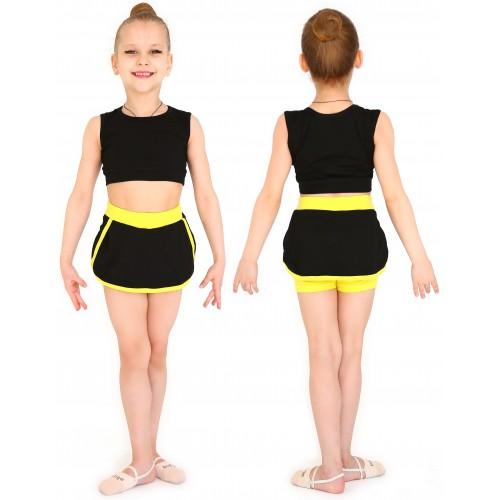 Юбка-шорты гимнаст. с окантовкой INDIGO SM-349 черно-желтая
