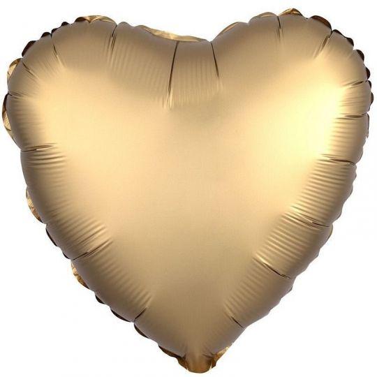 Сердце античное золото Сатин шар фольгированный