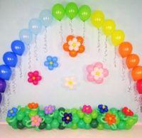 Шарики оформление в садик гелиевая арка поляна с цветами и цветы на стену