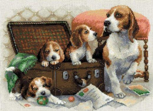 Набор для вышивания крестом Собачье семейство №1328 фирма Риолис