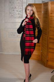 клетчатый кашемировый тёплый шарф (100% драгоценный кашемир) , тартан клана Уоллес- Храброе Сердце,  WALLACE TARTAN CLASSIC CASHMERE , плотность 7