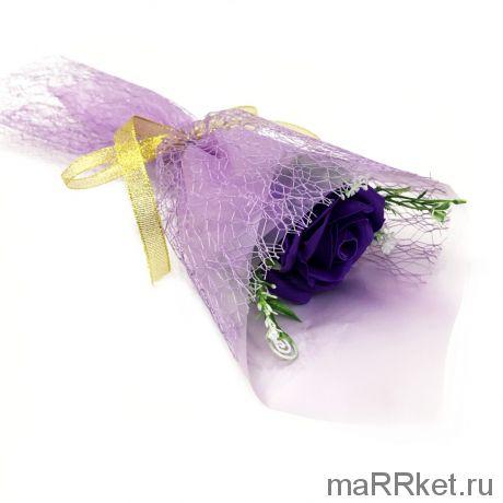 Букет из парфюмированного мыла в бумажной упаковке, 40 см (фиолетовый)