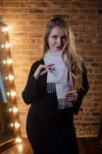 однотонный кашемировый шарф (100% драгоценный кашемир), Снежный цвет, SNOW CLASSIC CASHMERE высокая плотность 7