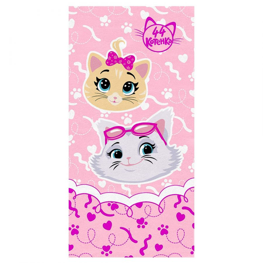 """Детское махровое полотенце """"Девочки. 44 котёнка"""" рис.1141-02 розовое"""
