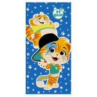 """Детское махровое полотенце """"Мальчики. 44 котёнка"""" рис.1142-01 синее"""
