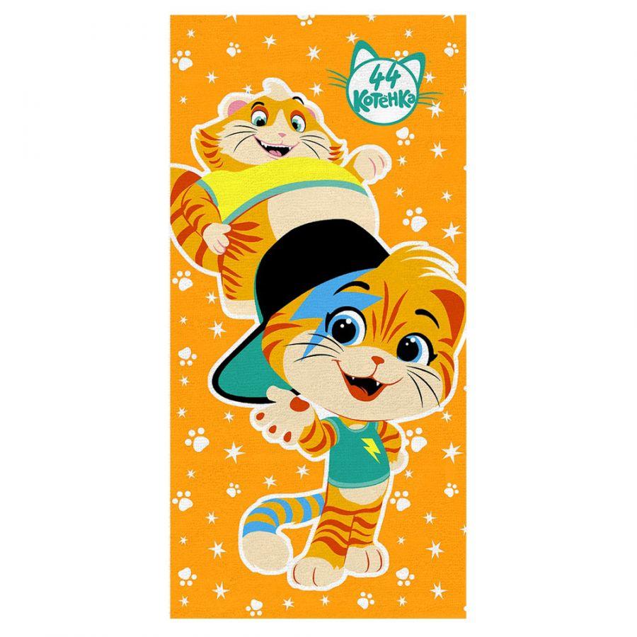 """Детское махровое полотенце """"Мальчики. 44 котёнка"""" рис.1142-13 оранжевое"""