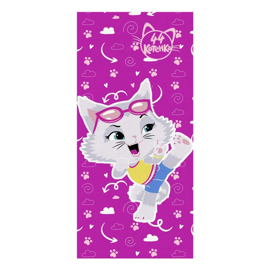"Детское махровое полотенце ""Миледи. 44 котёнка"" рис.1143-17 фуксия"