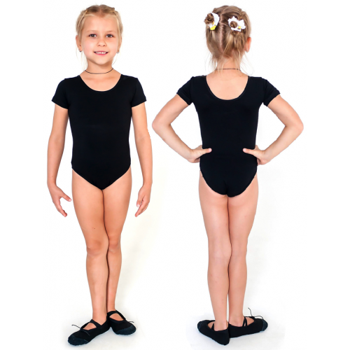 Купальник гимнастический короткий рукав INDIGO SM-189 черный