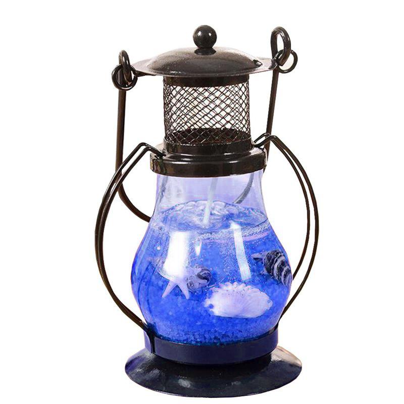 Гелевая свеча Керосиновая Лампа 9 см (цвет наполнителя синий)