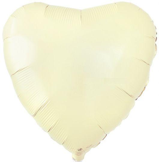 Сердце айвори шар фольгированный с гелием