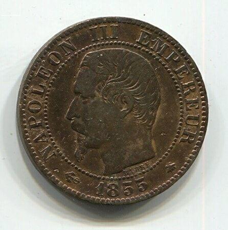 5 сантимов 1855 года BB Франция XF