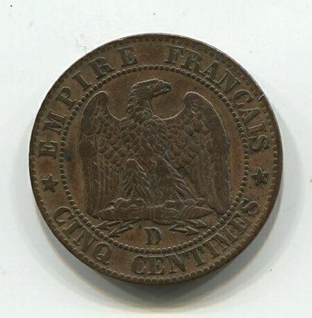 5 сантимов 1854 года D Франция XF, редкий тип Large D