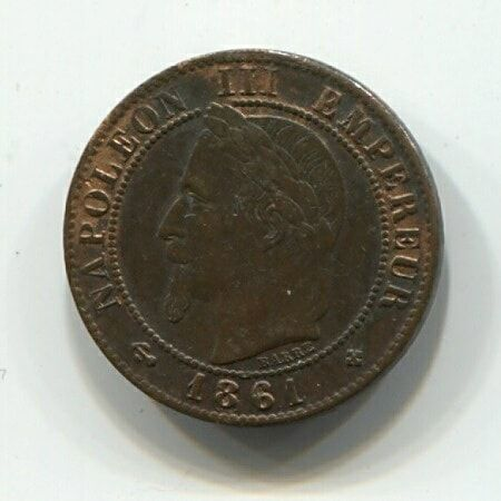 1 сантим 1861 года BB Франция XF
