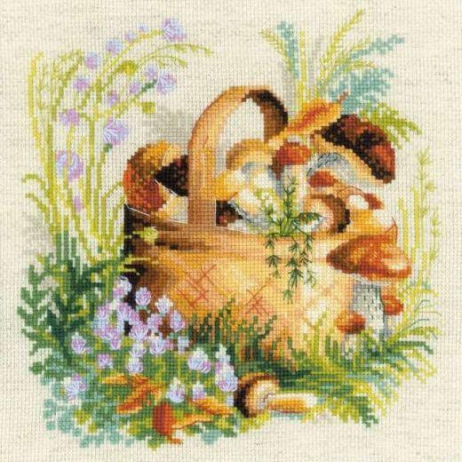 Набор для вышивания крестом Грибное лукошко №1363 фирма Риолис