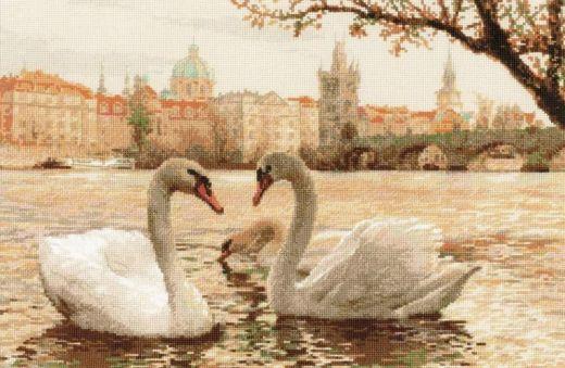 Набор для вышивания крестом Лебеди. Прага №1364 фирма Риолис