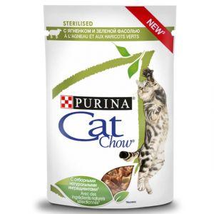 """Purina Cat Chow паучи для стерилизованных кошек """"Кусочки в соусе с ягненком и зеленой фасолью"""" 85гр"""