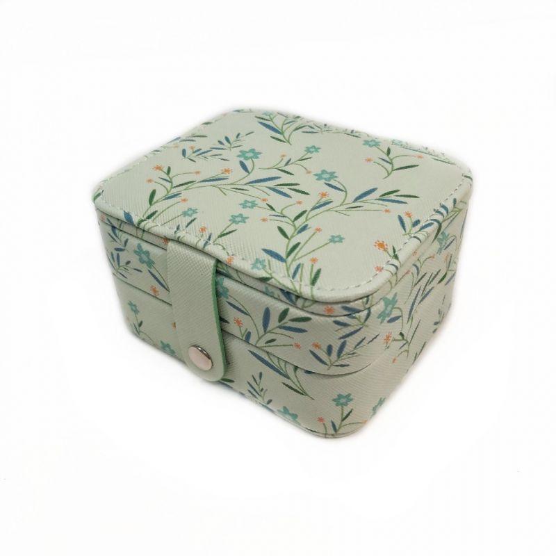 Мини шкатулка для ювелирных изделий Полевые цветы 11х9х6 см (цвет зелёный)