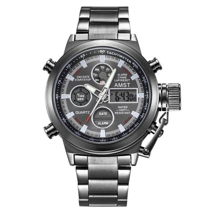 Мужские наручные армейские часы АМСТ 3003 ремешок металл