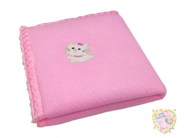 Одеяло на выписку вязаное розовое V-OD600(mx)-TR / 80х100
