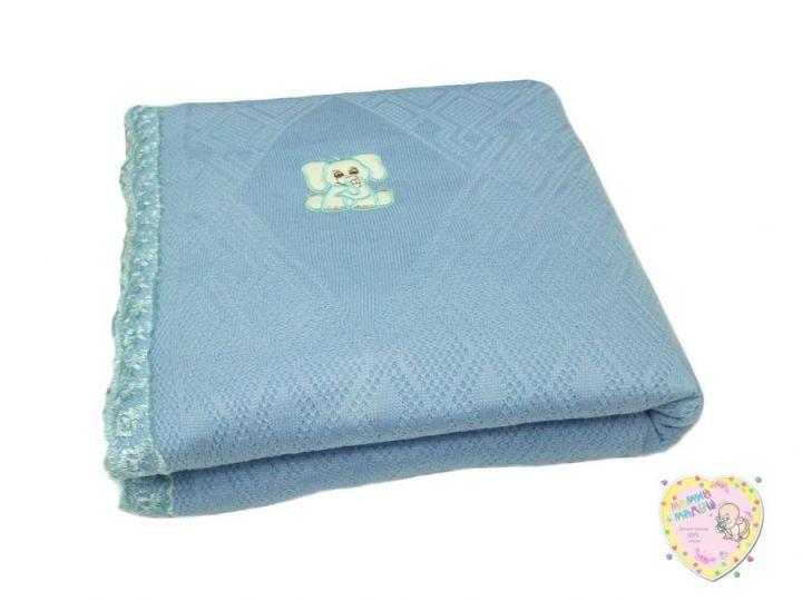 Одеяло на выписку вязаное голубое V-OD600(mx)-TR / 80х100