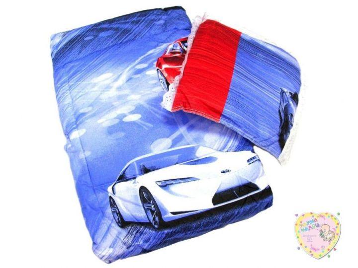 Комплект в кроватку: одеяло, подушка (синий с машинами)