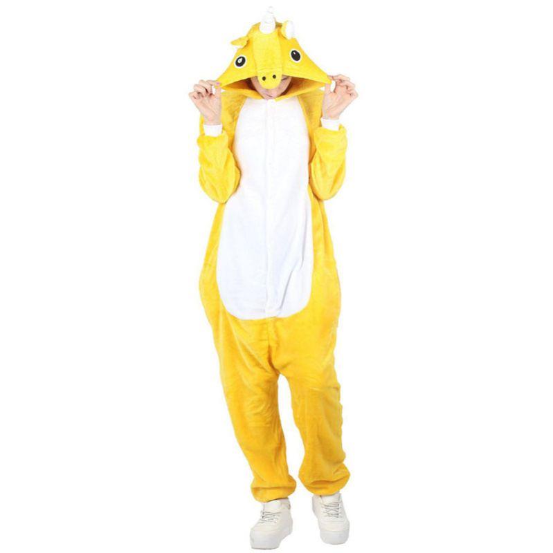 Пижама Кигуруми Единорог Радужный Желтый