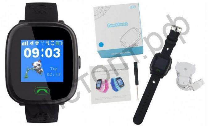 Smart часы (умные часы ) WD-19 с GPS детские Черные ( GSM SIM ) телефон, GPS, Bluetooth Андроид музыка видео голос. связь телеф.номер смс шагомер датчик сна  приложения