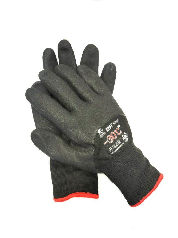 Зимние утеплённые рабочие перчатки с покрытием из вспененного латекса