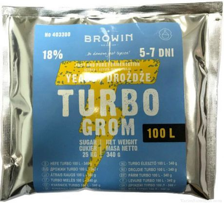 Спиртовые Турбо Дрожжи Turbo Grom на 100 литров, 340 гр