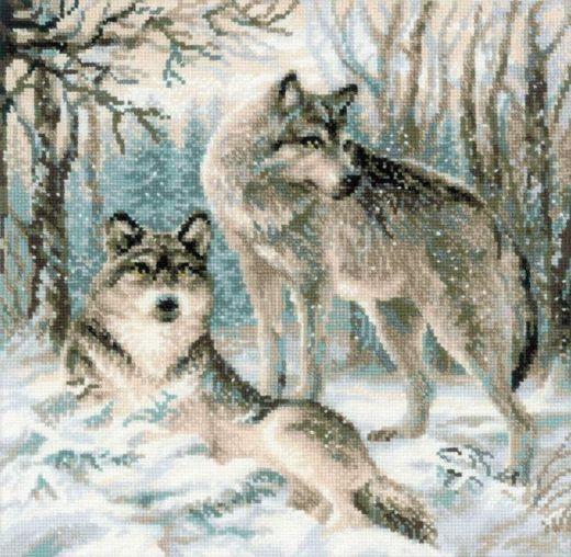 Набор для вышивания крестом Волчья пара №1393 фирма Риолис