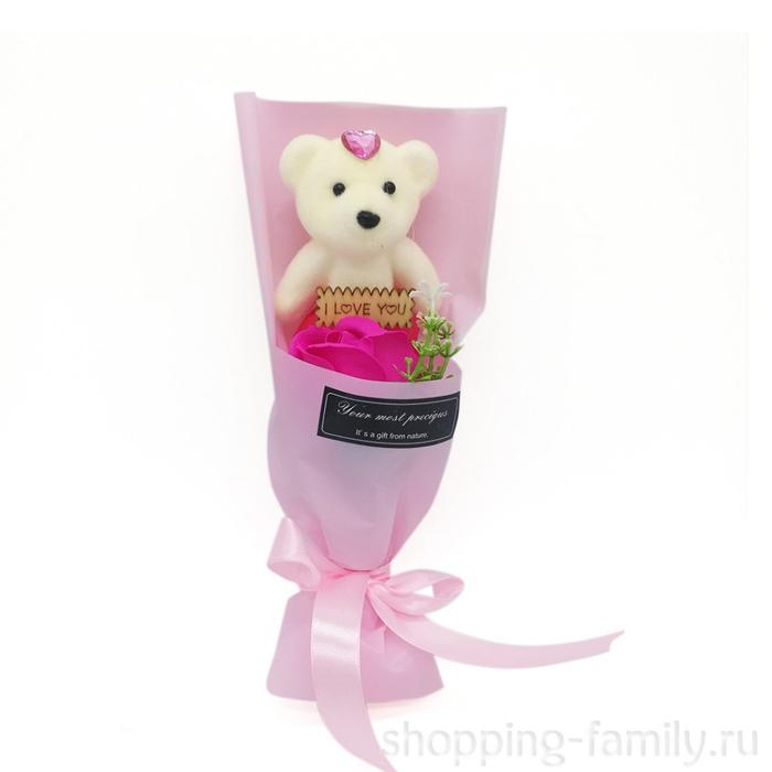 Мыльная роза с мишкой в упаковке, цвет Фуксия