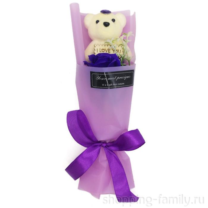 Мыльная роза с мишкой в упаковке, цвет Фиолетовый