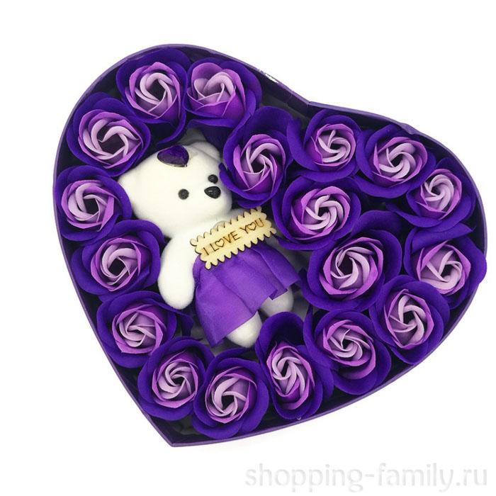 Подарочный набор Мыльные розы Love с мишкой, цвет Сиреневый
