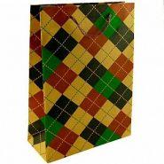 """Крафт-пакет подарочный """"Шотландская клетка"""", 31,5*23,5*8,5 см"""