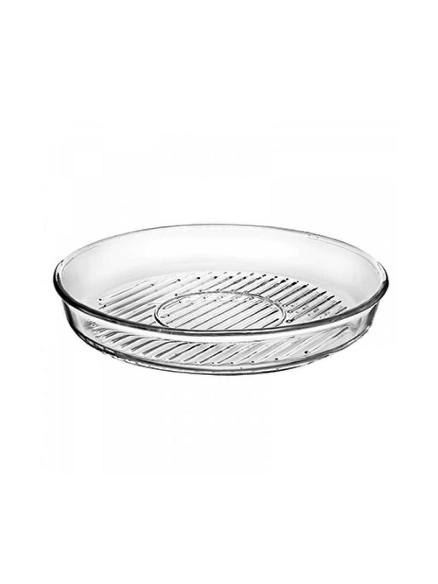 Круглая форма гриль 1,72 литра Borcam 59534 Grill жаропрочная стеклянная форма для СВЧ 26x4,5 см