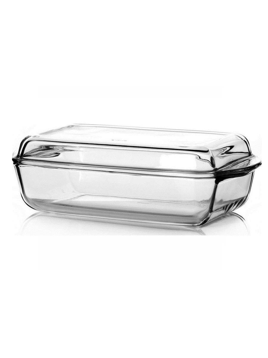 Кастрюля прямоугольная с крышкой 2,8 литра Borcam 59010 жаропрочная стеклянная форма для запекания 34х19х7 см 1/2 коробка