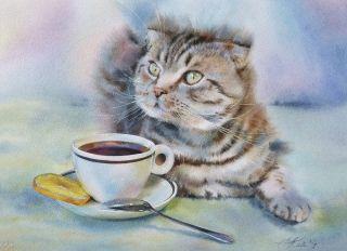 Почтовая открытка Чайно-лимонный кот