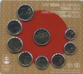 Олимпиада в Токио набор евро монет 2020 Словакия (8 монет +жетон) на заказ