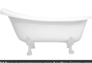 Ванна мраморная AquaStone Скарлет ножки белые
