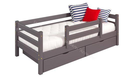"""Кровать """"Соня"""" Вариант 4 с защитой по центру (с ящиками)"""