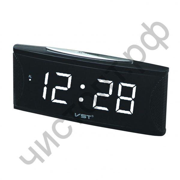 Часы  эл. сетев. VST719T-6 бел.цифры (говорящие) (5В)