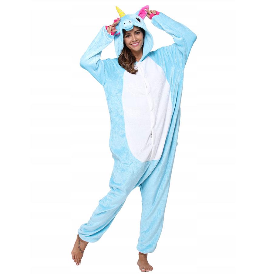 Пижама Кигуруми Единорог Радужный Голубой