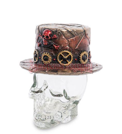 """WS-1031 Флакон """"Шляпа в стиле Стимпанк на стеклянном черепе"""""""