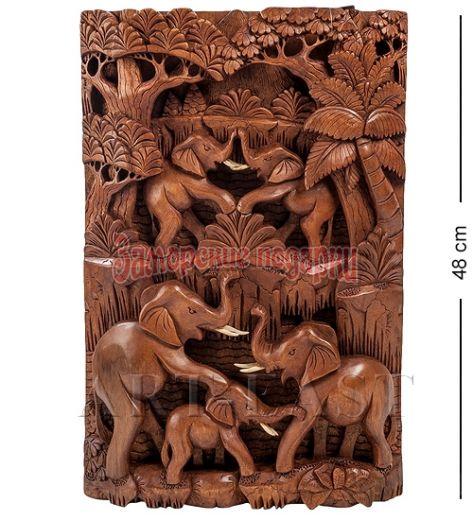 """17-005 Панно резное """"Пирамида из слонов - символ долголетия"""" (суар, о.Бали)"""