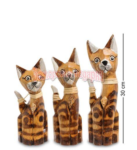 """99-031 Фигурка """"Кошка"""" н-р из трех 30,25,20 см (албезия, о.Бали)"""