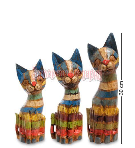 """99-038 Фигурка """"Кошка"""" н-р из трех 30,25,20 см (албезия, о.Бали)"""