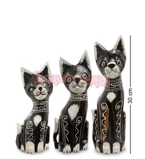 """99-205 Фигурка """"Кошка"""" н-р из трех 30,25,20 см (албезия, о.Бали)"""