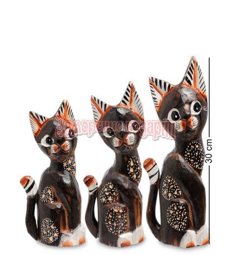"""99-212 Фигурка """"Кошка"""" н-р из трех 30,25,20 см (албезия, о.Бали)"""