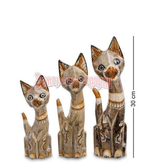 """99-233 Фигурка """"Кошка"""" н-р из трех 30,25,20 см (албезия, о.Бали)"""